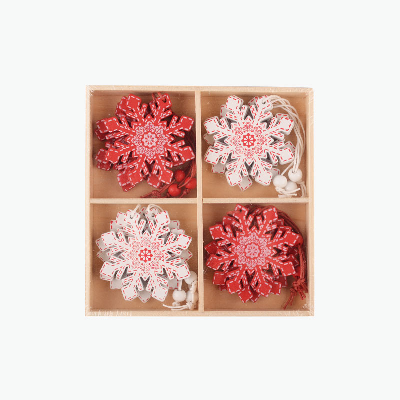 Red and White Wooden Snowflake Ornaments 5.5cm x12