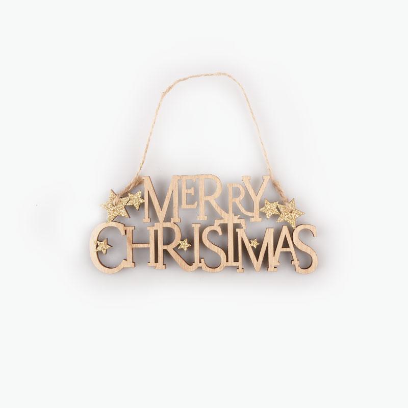 Wooden Merry Christmas Ornament 6.5x15cm