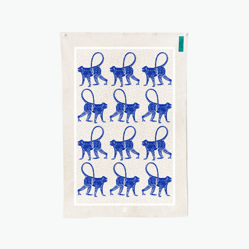 Pinyin Press, Year of the Monkey Tea Towel (Blue) 45x70cm