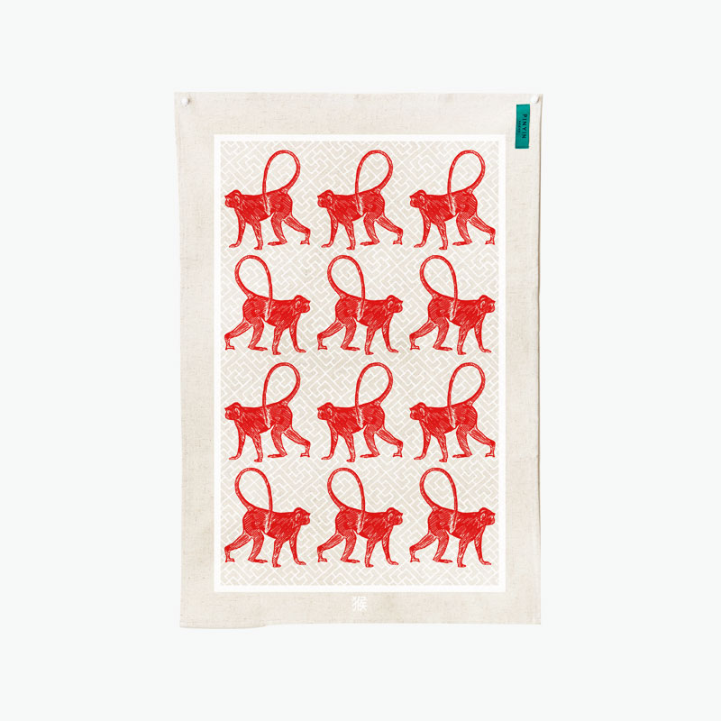 Pinyin Press, Year of the Monkey Tea Towel (Red) 45x70cm