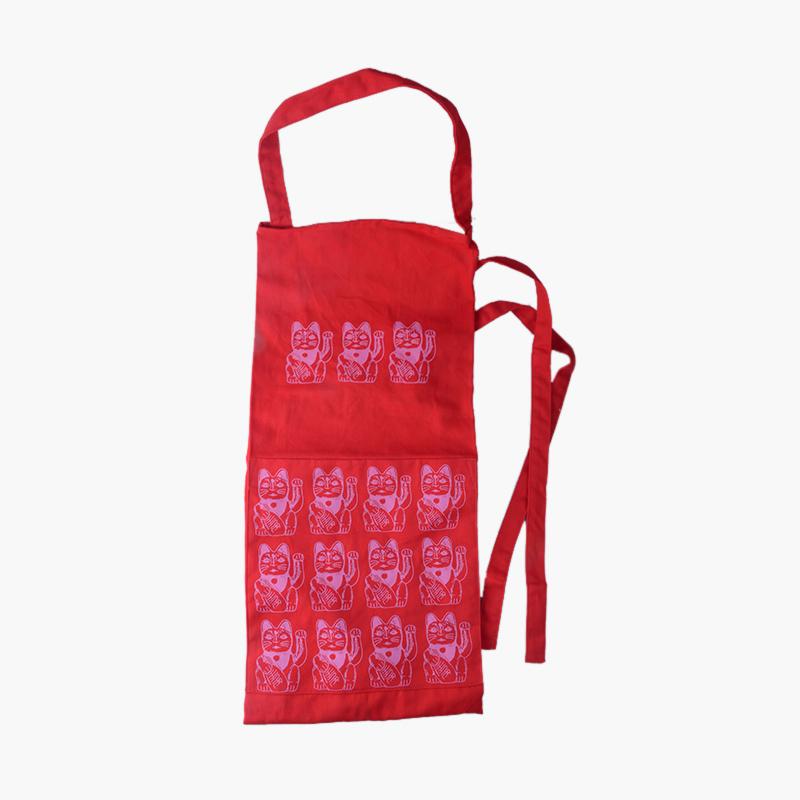 Pinyin Press, 'Lucky Cat' Apron (Red)