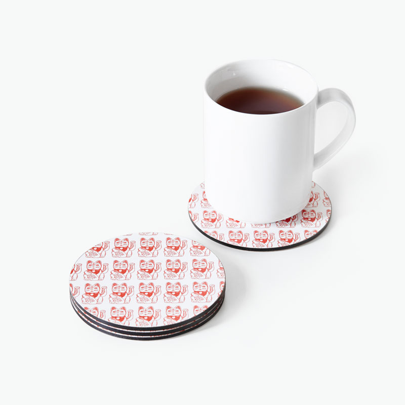 Pinyin Press, 'Lucky Cat' Coasters (Red) x4