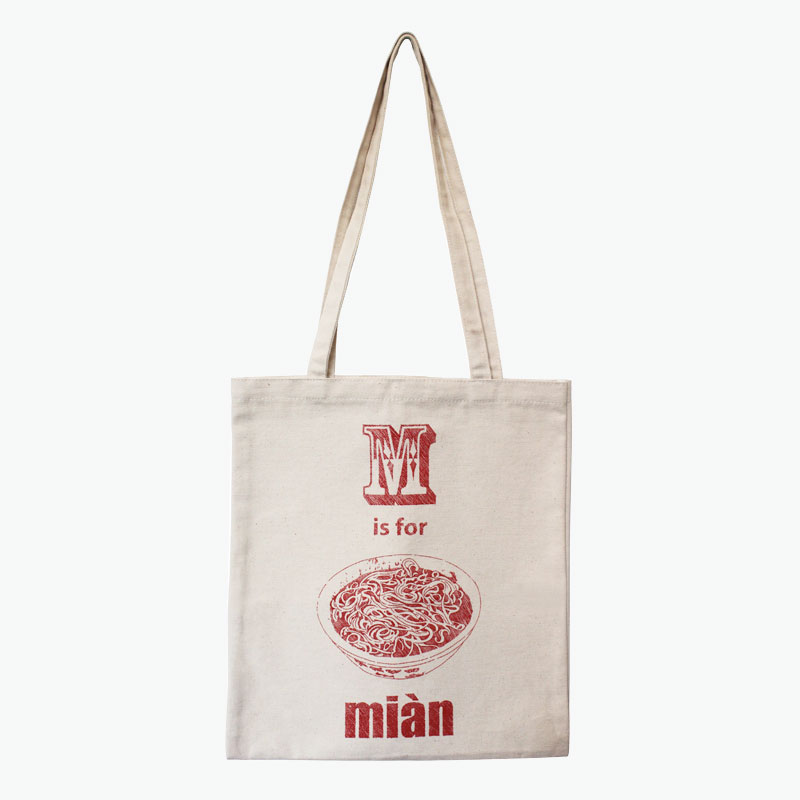 Pinyin Press, 'M is for Mian' Canvas Bag (Red) 35x40cm