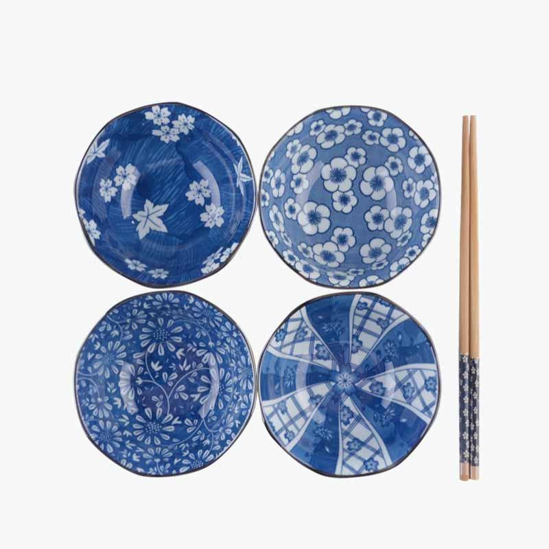 Jing De Zheng Mixed Design Printed Blue & White Porcelain Bowls Set of 4