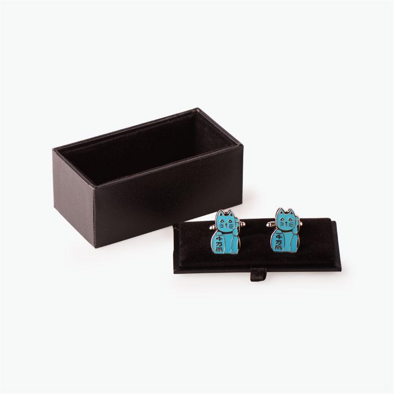 Pinyin Press, 'Lucky Cat' Cufflinks (Blue)