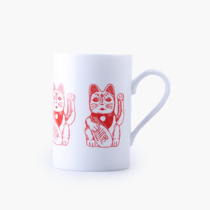 Pinyin Press, 'Lucky Cat' Mug (Large White & Red) 7.5x10.6cm