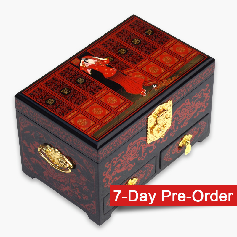 Decorative Red Lacquered Jewelry Box