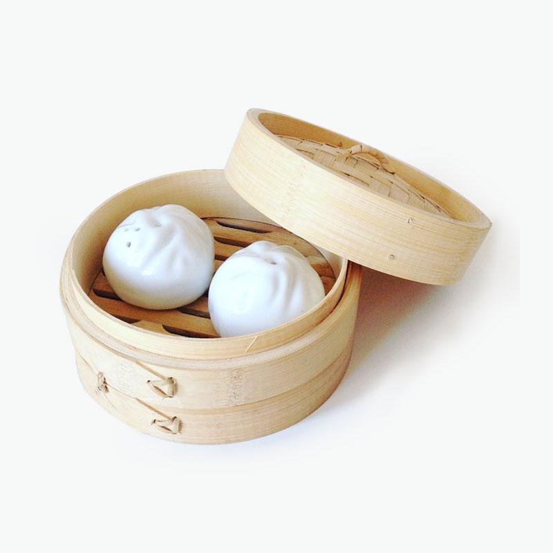 Pinyin Press, Baozi Salt and Pepper Shakers (White) 5x6cm