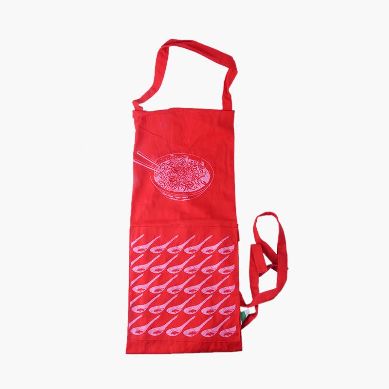 Pinyin Press, 'Noodle Bowl & Spoons' Apron (Red)