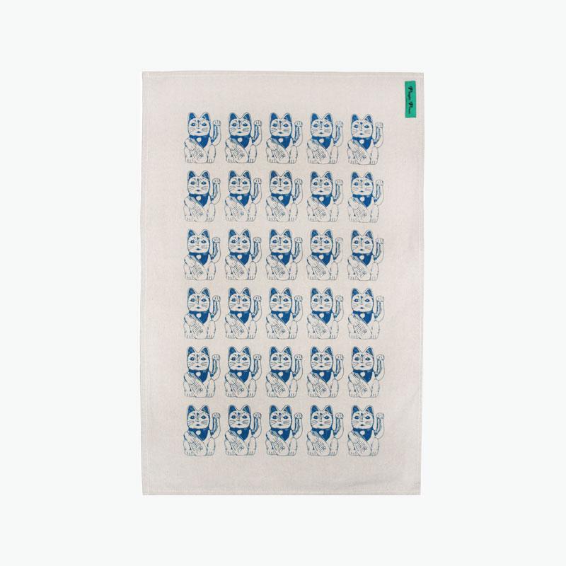 Pinyin Press, Lucky Cat Tea Towel (Blue) 45x70cm