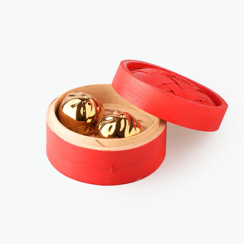 Pinyin Press, 'Baozi' Salt & Pepper Shakers in Bamboo Steamer (Gold/Red)