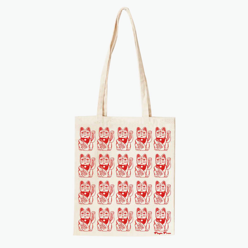 Pinyin Press, 'Lucky Cat' Canvas Bag (Red) 35x40cm