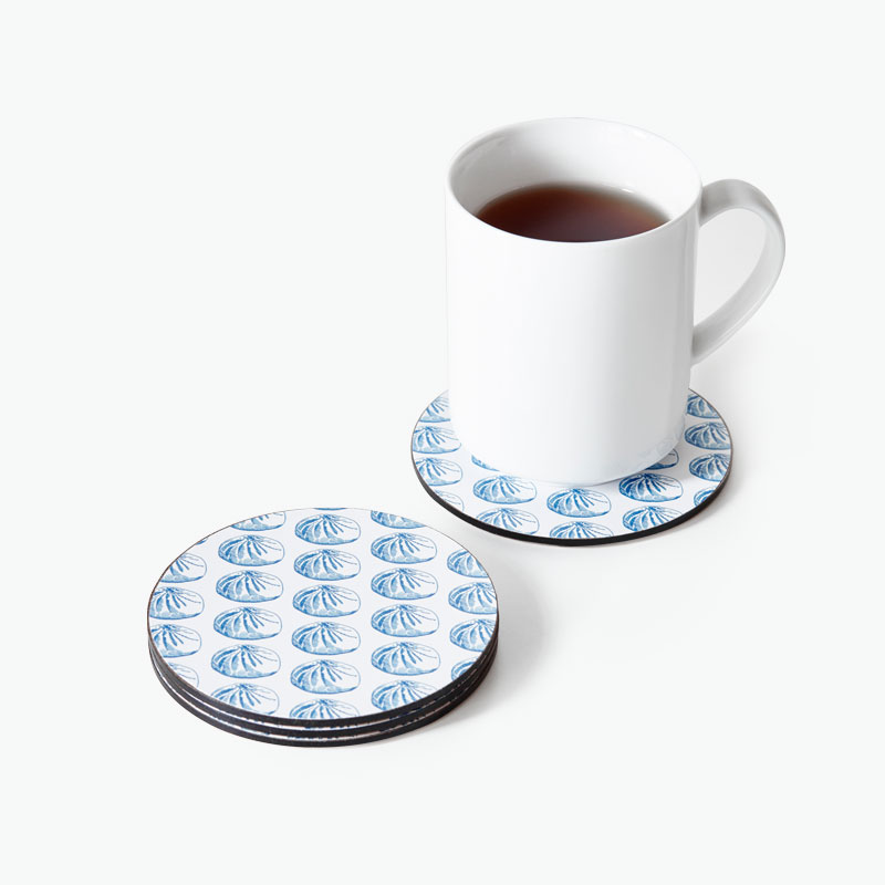 Pinyin Press, Baozi Coasters (Blue) x4