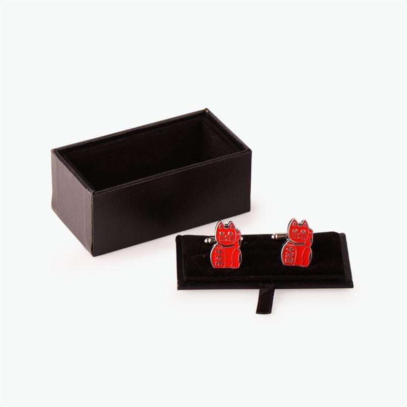 Pinyin Press, 'Lucky Cat' Cufflinks (Red)