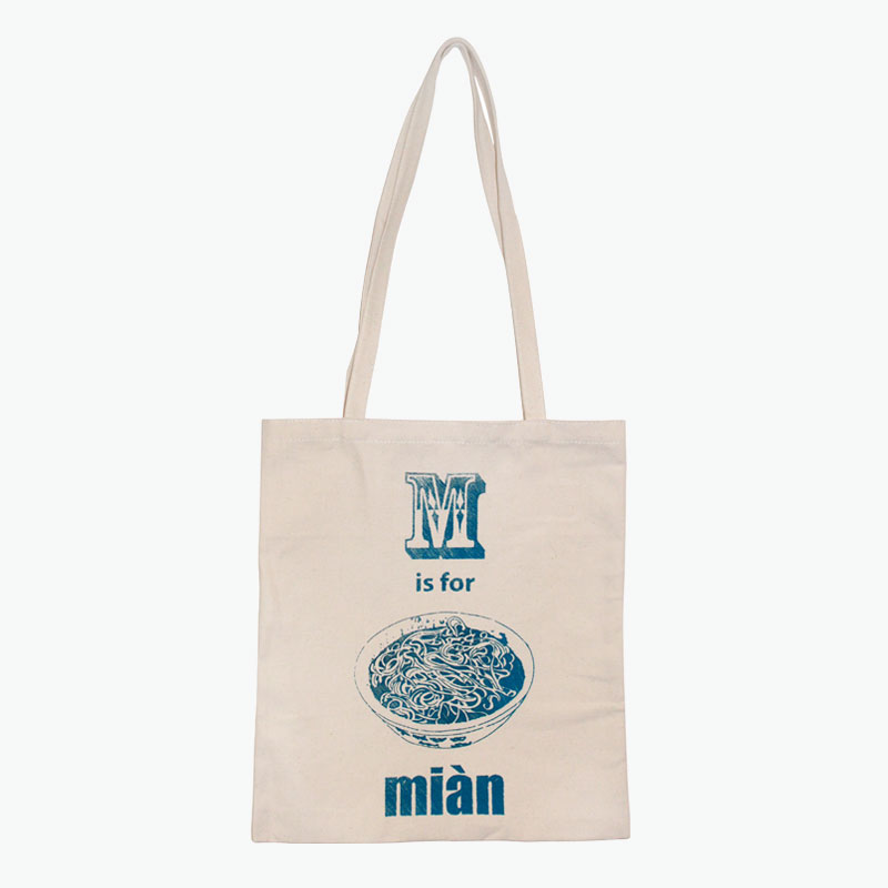 Pinyin Press, 'M is for Mian' Canvas Bag (Blue) 35x40cm