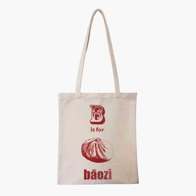 Pinyin Press, 'B is for Baozi' Canvas Bag (Red) 35x40cm