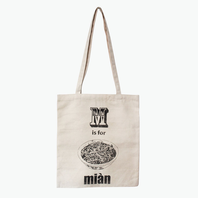 Pinyin Press, 'M is for Mian' Canvas Bag (Black) 35x40cm