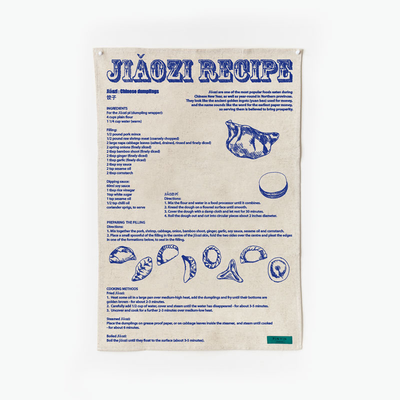 Pinyin Press, 'Jiaozi Recipe' Tea Towel (Blue)