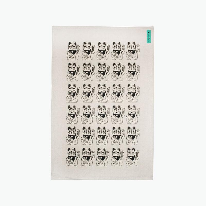 Pinyin Press, Lucky Cat Tea Towel (Black) 45x70cm