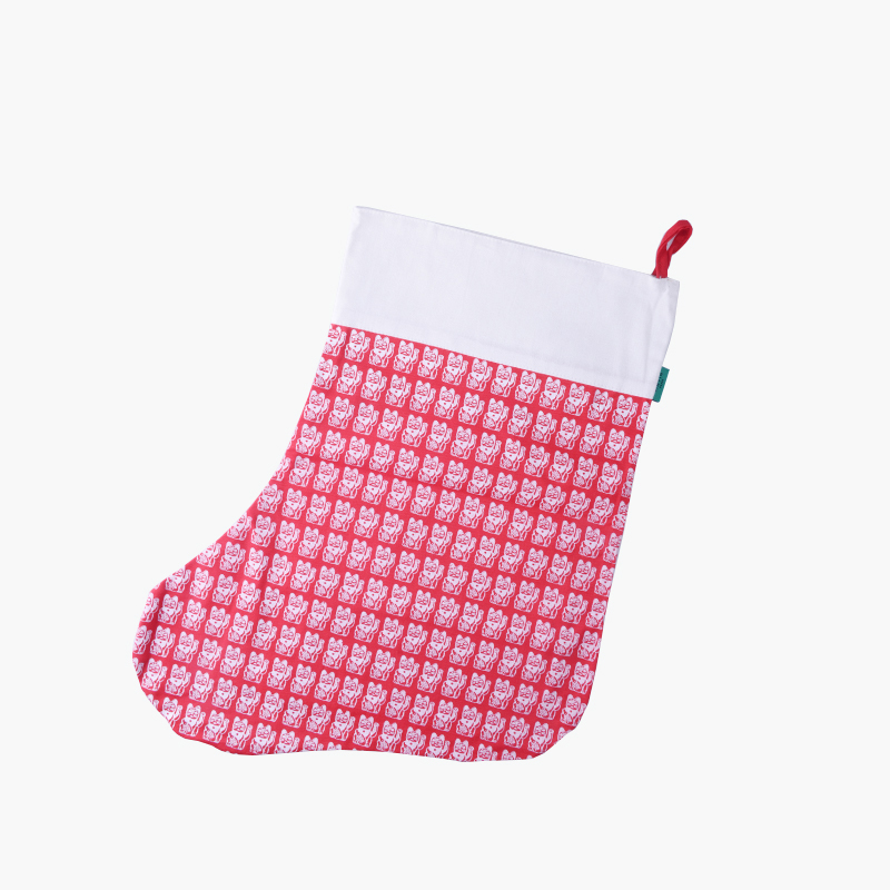 Pinyin Press, 'Lucky Cat' Christmas Stocking (Red)