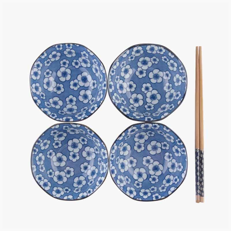 Jing De Zheng Cherry Blossom Printed Blue & White Porcelain Bowl 1pc