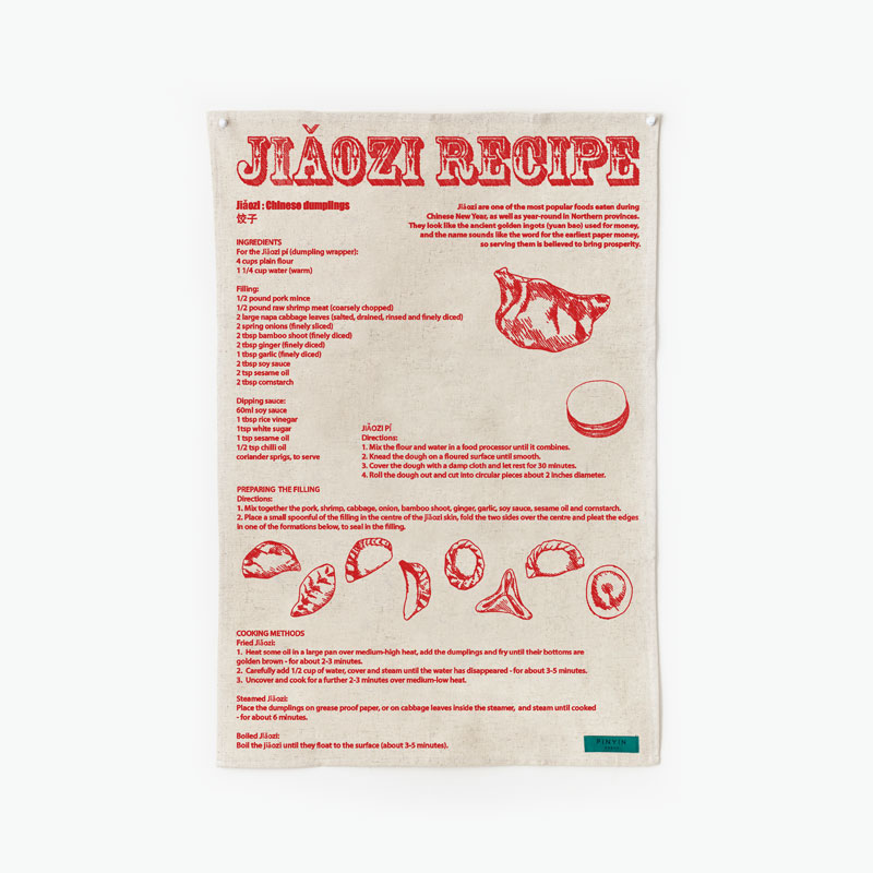 Pinyin Press, 'Jiaozi Recipe' Tea Towel (Red)