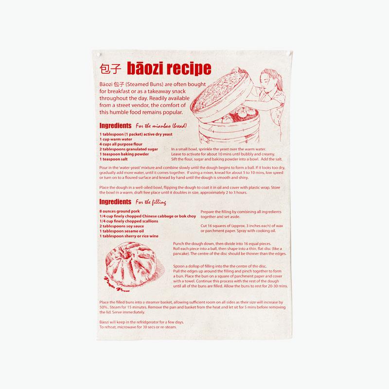 Pinyin Press, Baozi Recipe Tea Towel (Red) 45x70cm