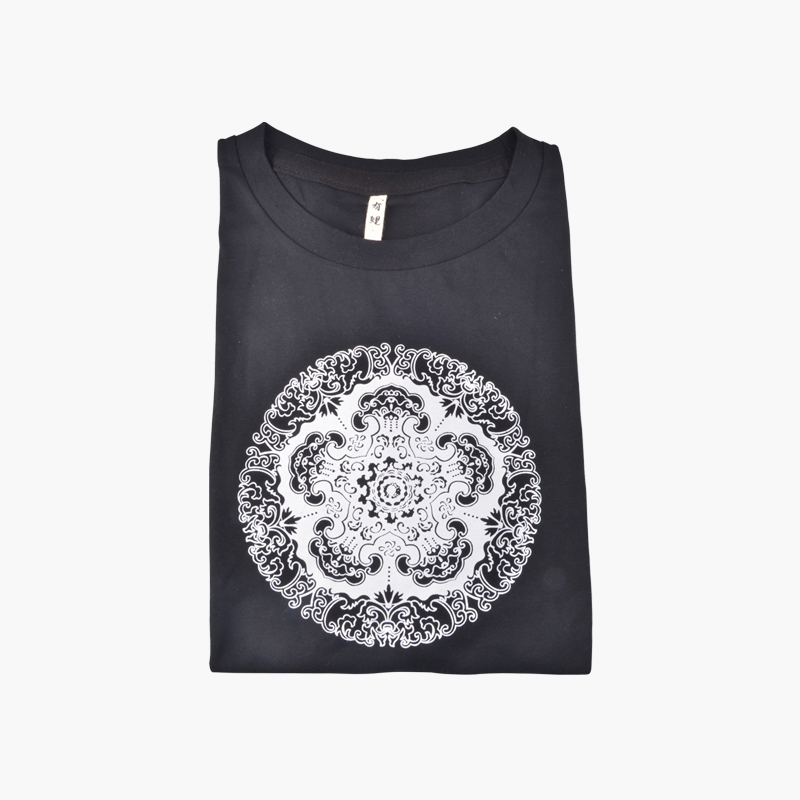 Black Cotton T-Shirt with Chinese Pattern (XXL)