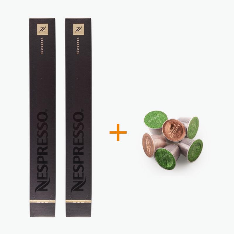 Nespresso, RISTRETTO Capsules x20 + Free Podista Sample x6